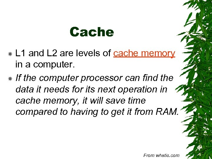 Cache L 1 and L 2 are levels of cache memory in a computer.