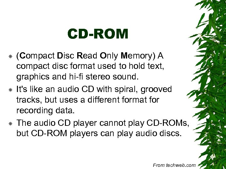 CD-ROM (Compact Disc Read Only Memory) A compact disc format used to hold text,