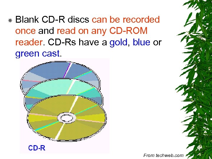Blank CD-R discs can be recorded once and read on any CD-ROM reader.