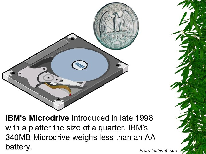 IBM's Microdrive Introduced in late 1998 with a platter the size of a quarter,