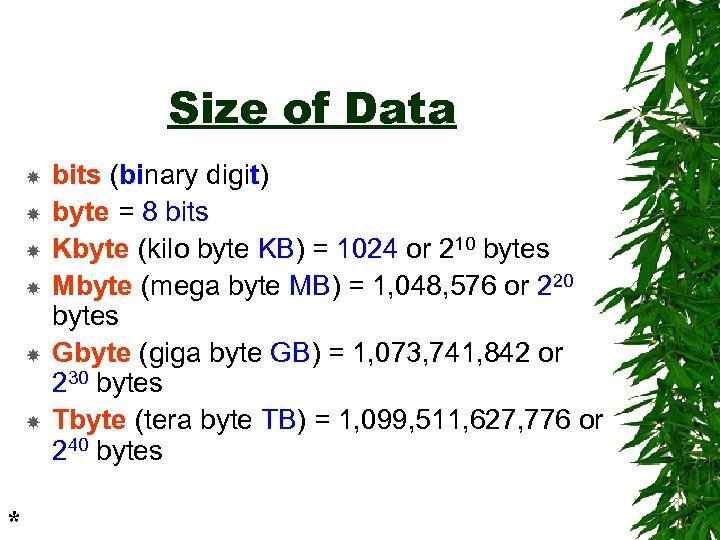 Size of Data * bits (binary digit) byte = 8 bits Kbyte (kilo byte