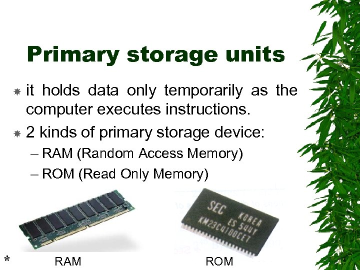Primary storage units it holds data only temporarily as the computer executes instructions. 2