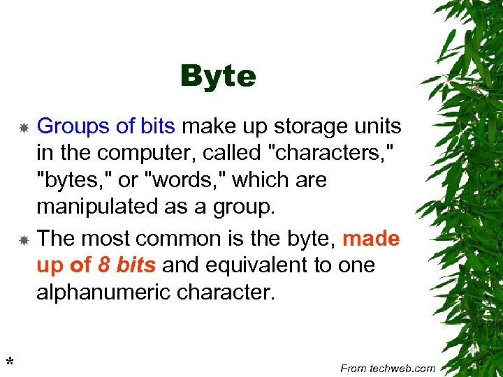 Byte Groups of bits make up storage units in the computer, called