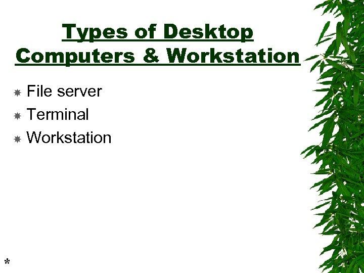 Types of Desktop Computers & Workstation File server Terminal Workstation *