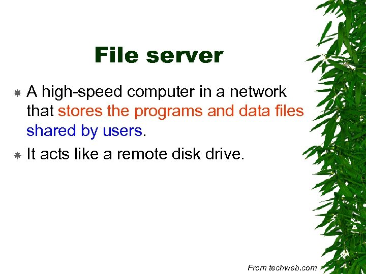 File server A high-speed computer in a network that stores the programs and data
