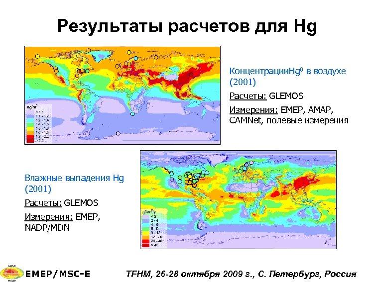 Результаты расчетов для Hg Концентрации. Hg 0 в воздухе (2001) Расчеты: GLEMOS Измерения: EMEP,