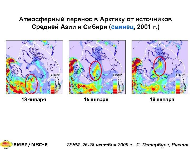 Атмосферный перенос в Арктику от источников Средней Азии и Сибири (свинец, 2001 г. )