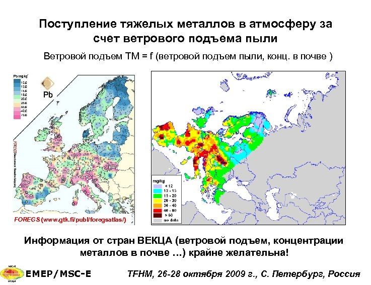 Поступление тяжелых металлов в атмосферу за счет ветрового подъема пыли Ветровой подъем ТМ =