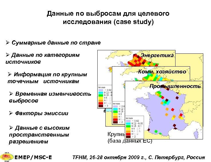 Данные по выбросам для целевого исследования (case study) Ø Суммарные данные по стране Ø