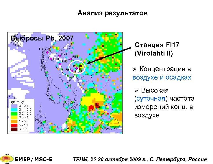 Анализ результатов Выбросы Pb, 2007 Станция FI 17 (Virolahti II) Концентрации в воздухе и
