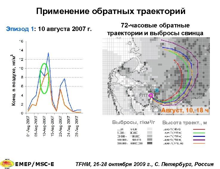 Применение обратных траекторий Эпизод 1: 10 августа 2007 г. 72 -часовые обратные траектории и