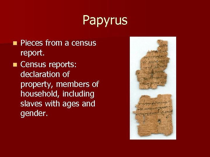 Papyrus Pieces from a census report. n Census reports: declaration of property, members of