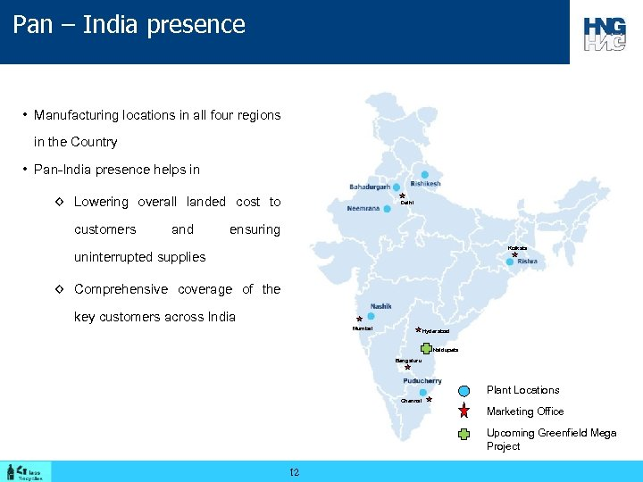 Pan – India presence • Manufacturing locations in all four regions in the Country