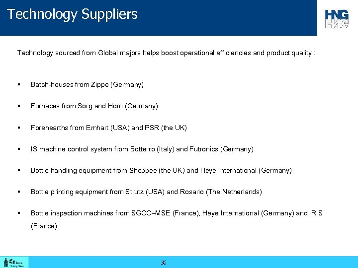 Technology Suppliers Technology sourced from Global majors helps boost operational efficiencies and product quality