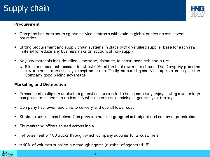 Supply chain Procurement § Company has both sourcing and service contracts with various global