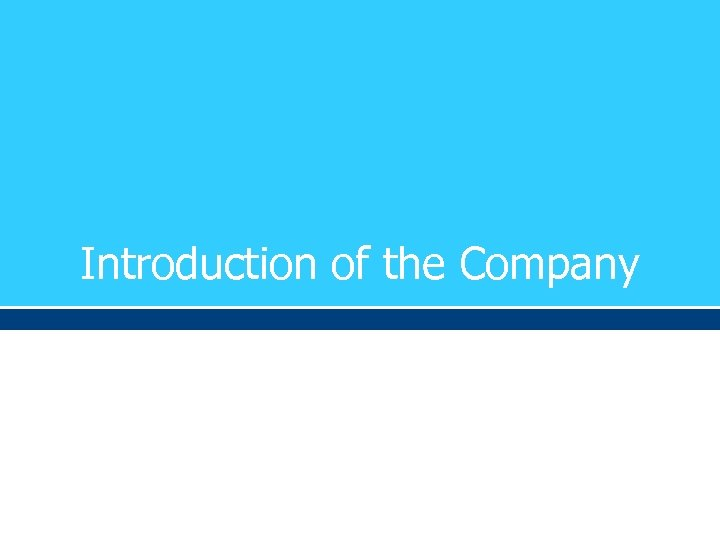Introduction of the Company