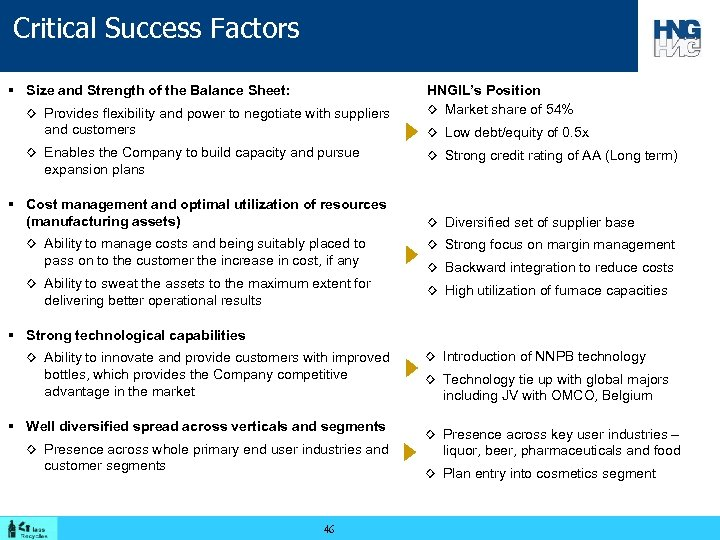 Critical Success Factors § Size and Strength of the Balance Sheet: ◊ Provides flexibility