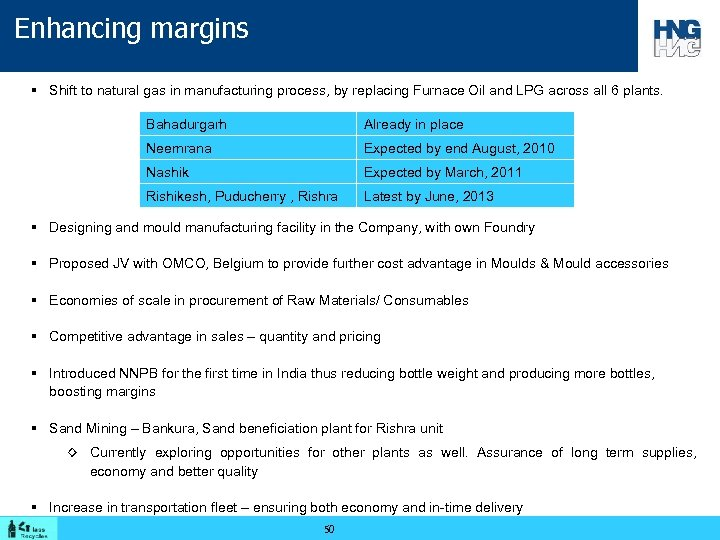 Enhancing margins § Shift to natural gas in manufacturing process, by replacing Furnace Oil