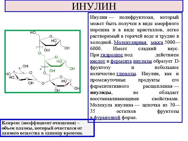 ИНУЛИН Инулин — полифруктозан, который может быть получен в виде аморфного порошка и в