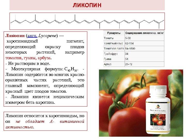 ЛИКОПИН Ликопин (англ. Lycopene) — каротиноидный пигмент, определяющий окраску плодов некоторых растений, например томатов,