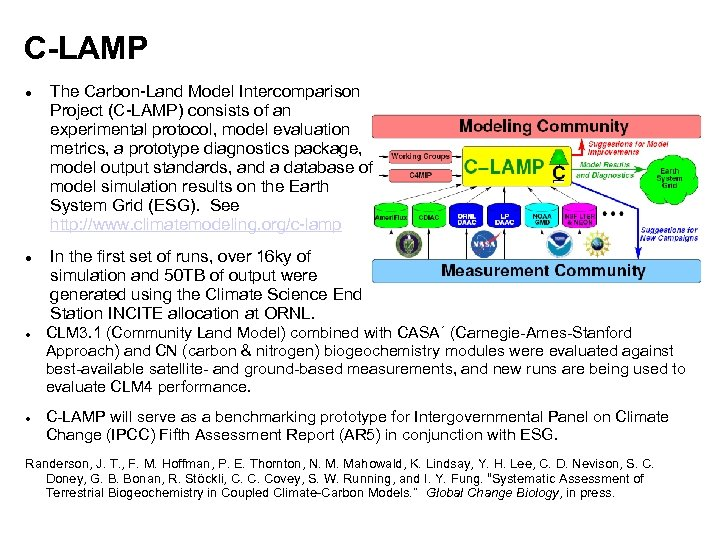 C-LAMP The Carbon-Land Model Intercomparison Project (C-LAMP) consists of an experimental protocol, model evaluation