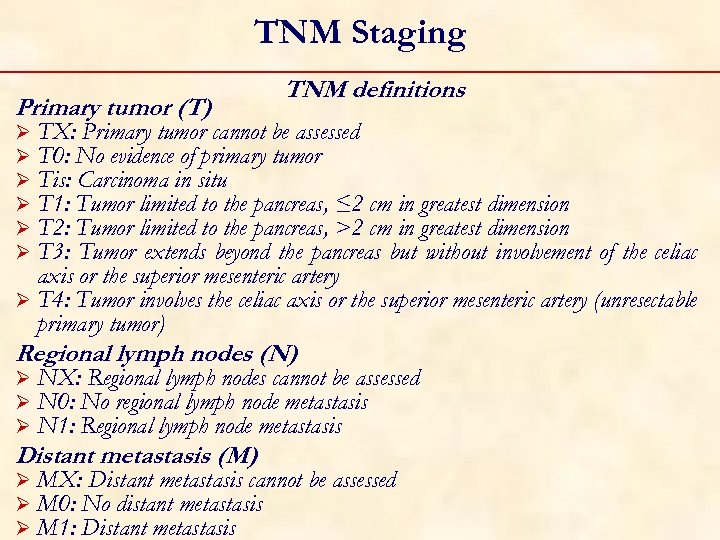 TNM Staging Primary tumor (T) TNM definitions TX: Primary tumor cannot be assessed T