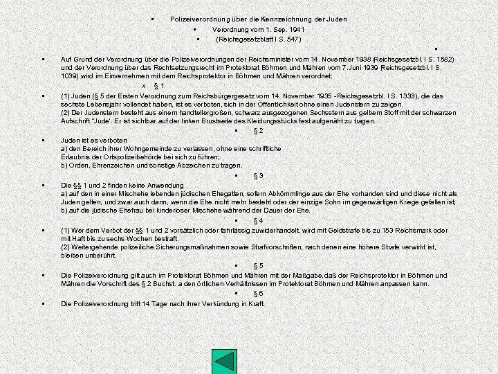 • • Polizeiverordnung über die Kennzeichnung der Juden • Verordnung vom 1. Sep.