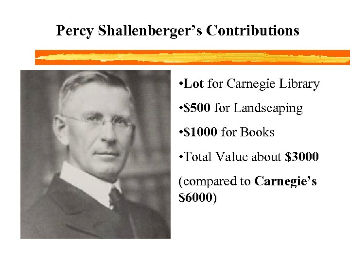 Percy Shallenberger's Contributions • Lot for Carnegie Library • $500 for Landscaping • $1000