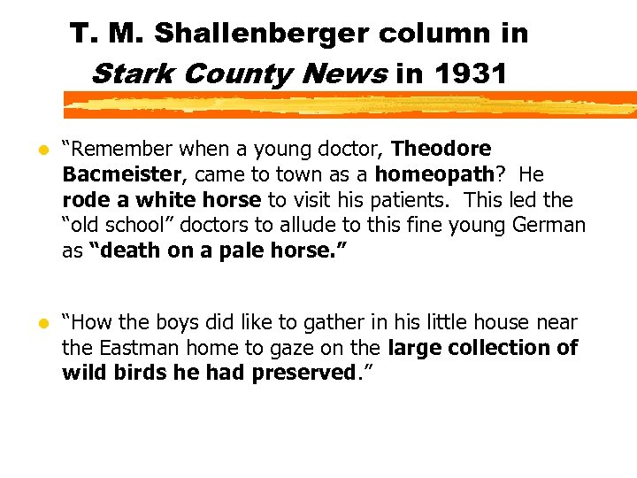 """T. M. Shallenberger column in Stark County News in 1931 l """"Remember when a"""
