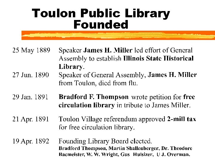 Toulon Public Library Founded