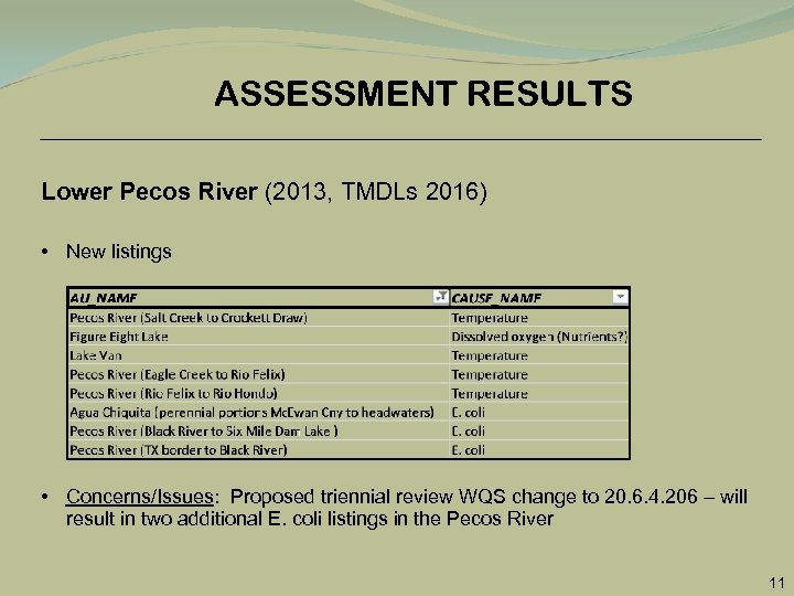 ASSESSMENT RESULTS Lower Pecos River (2013, TMDLs 2016) • New listings • Concerns/Issues: Proposed