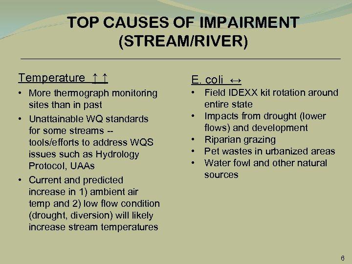 TOP CAUSES OF IMPAIRMENT (STREAM/RIVER) Temperature ↑ ↑ E. coli ↔ • More thermograph