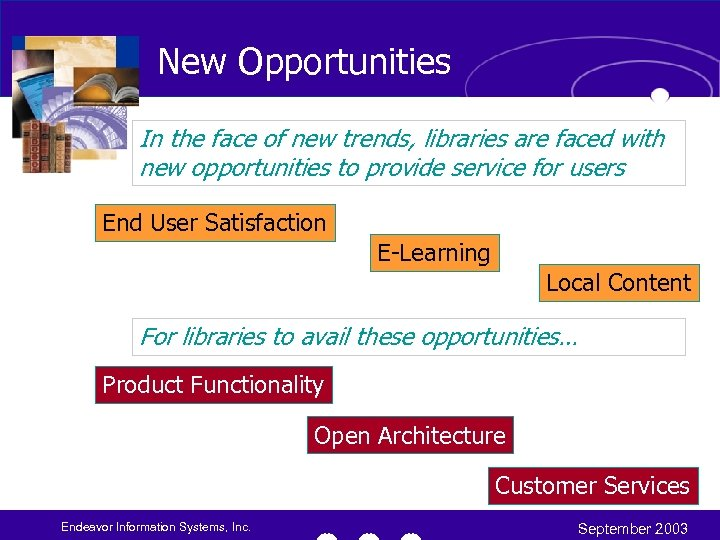 New Opportunities In the face of new trends, libraries are faced with new opportunities