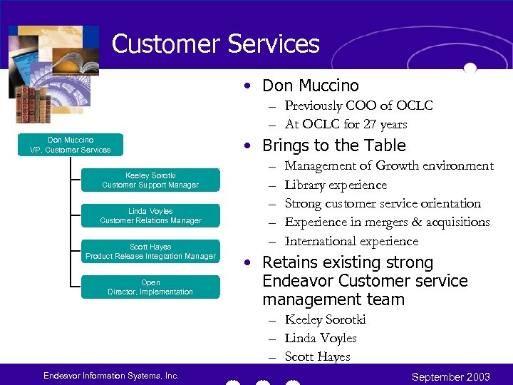 Customer Services • Don Muccino – Previously COO of OCLC – At OCLC for