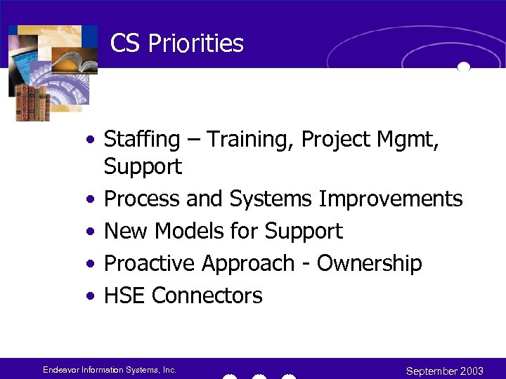 CS Priorities • Staffing – Training, Project Mgmt, Support • Process and Systems Improvements