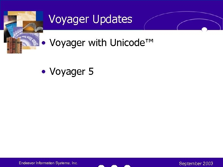 Voyager Updates • Voyager with Unicode™ • Voyager 5 Endeavor Information Systems, Inc. September