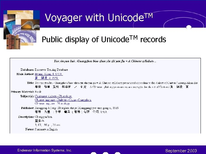 Voyager with Unicode. TM Public display of Unicode. TM records Endeavor Information Systems, Inc.