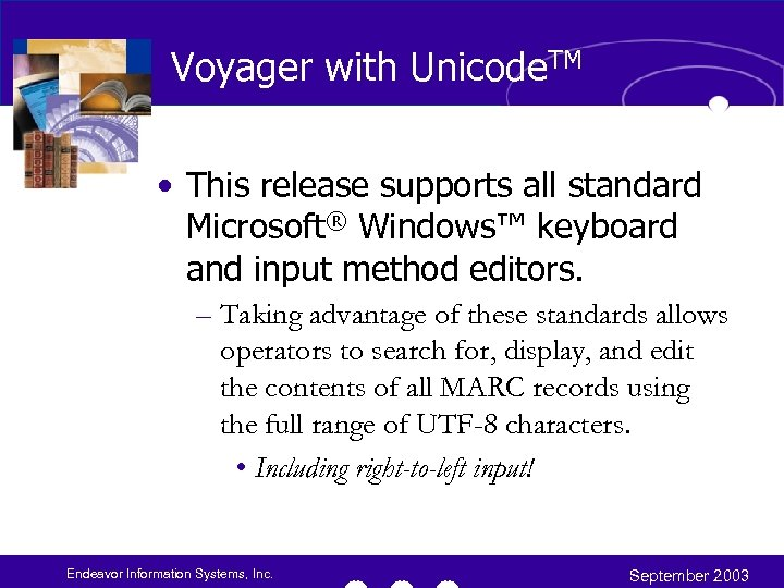 Voyager with Unicode. TM • This release supports all standard Microsoft® Windows™ keyboard and