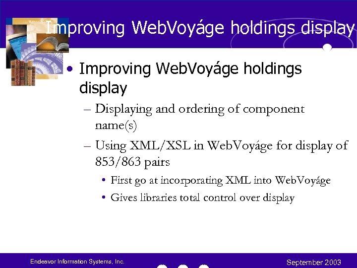 Improving Web. Voyáge holdings display • Improving Web. Voyáge holdings display – Displaying and