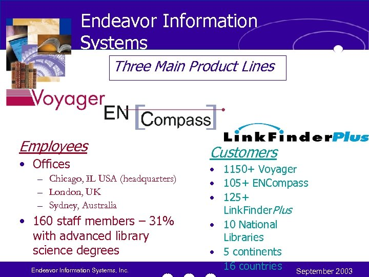 Endeavor Information Systems Three Main Product Lines Employees • Offices – Chicago, IL USA