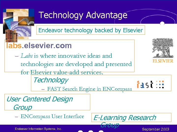 Technology Advantage Endeavor technology backed by Elsevier labs. elsevier. com – Labs is where