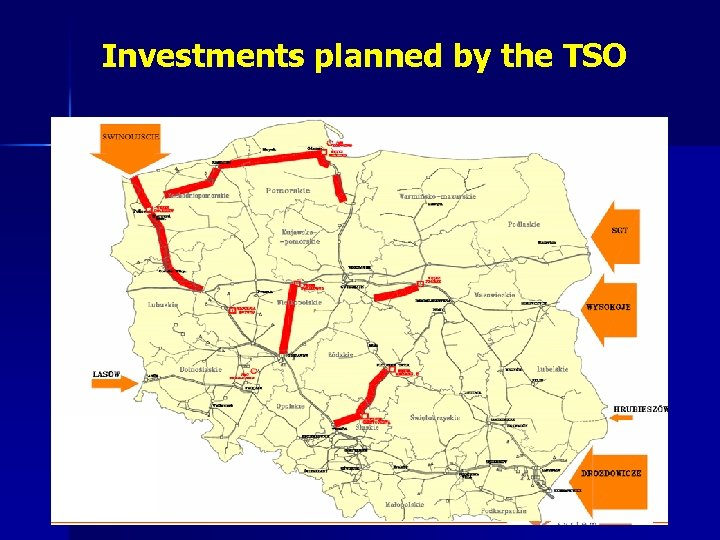 Investments planned by the TSO