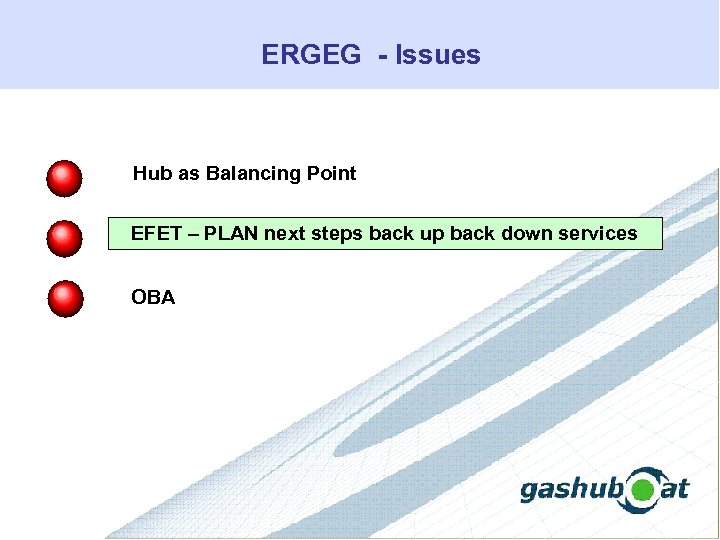 ERGEG - Issues Hub as Balancing Point EFET – PLAN next steps back up