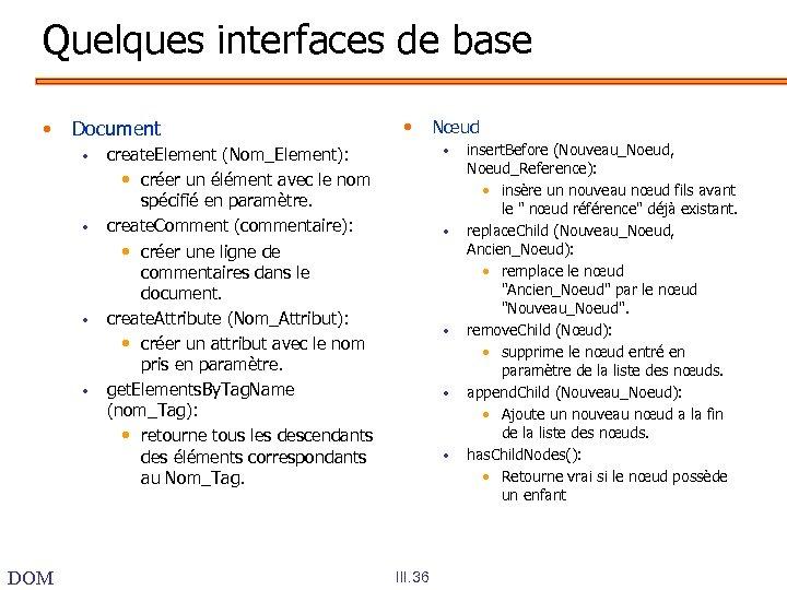 Quelques interfaces de base • Document • • DOM • create. Element (Nom_Element): •