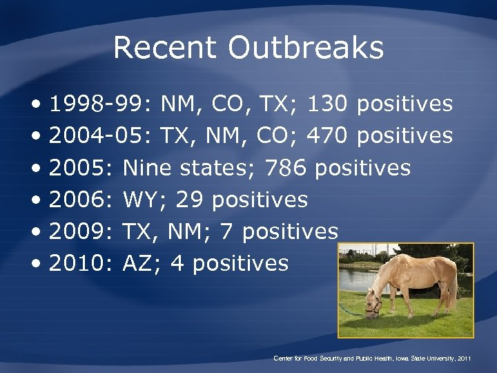 Recent Outbreaks • 1998 -99: NM, CO, TX; 130 positives • 2004 -05: TX,