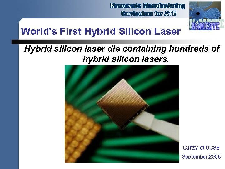 World's First Hybrid Silicon Laser Hybrid silicon laser die containing hundreds of hybrid silicon