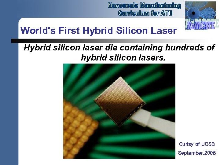 World's First Hybrid Silicon Laser Hybrid silicon laser die containing hundreds of hybrid silicon