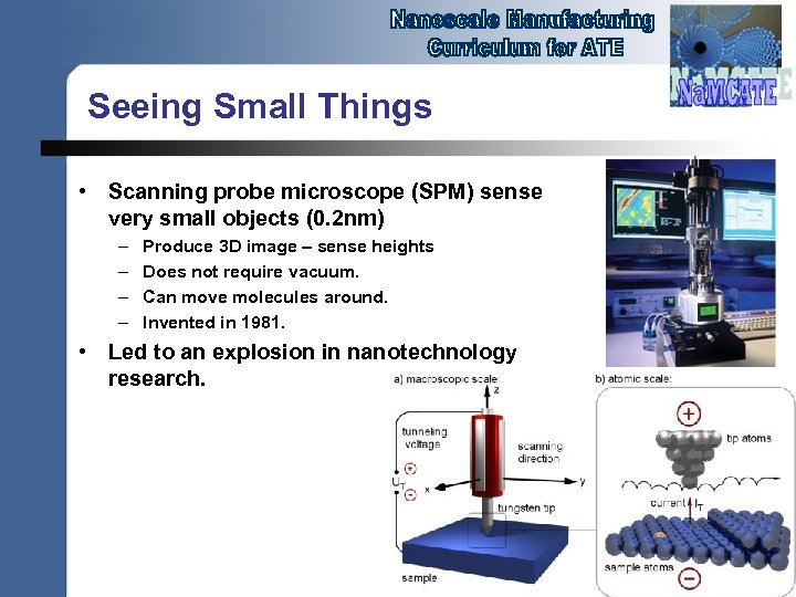 Seeing Small Things • Scanning probe microscope (SPM) sense very small objects (0. 2
