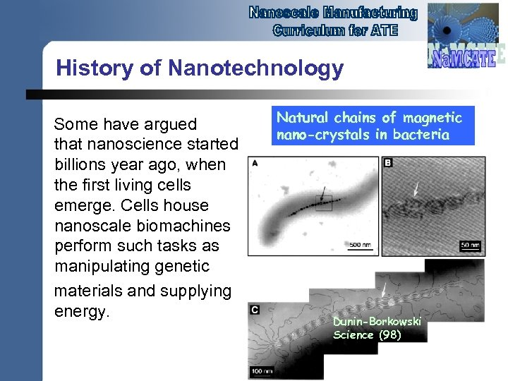 History of Nanotechnology Some have argued that nanoscience started billions year ago, when the