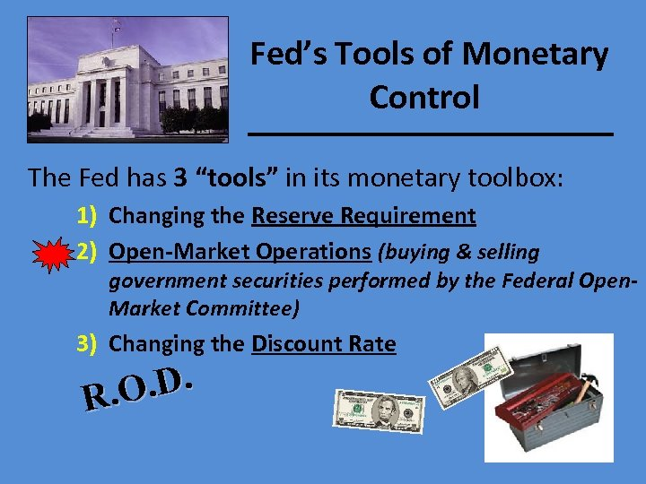 """Fed's Tools of Monetary Control The Fed has 3 """"tools"""" in its monetary toolbox:"""